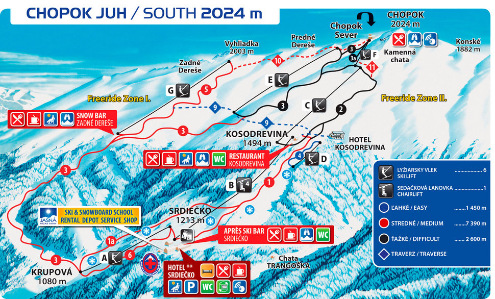 Jasná Nízke Tatry – Chopok juh - mapa