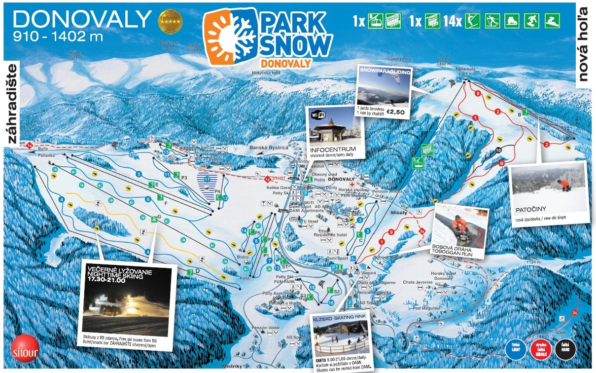 Park Snow Donovaly - mapa