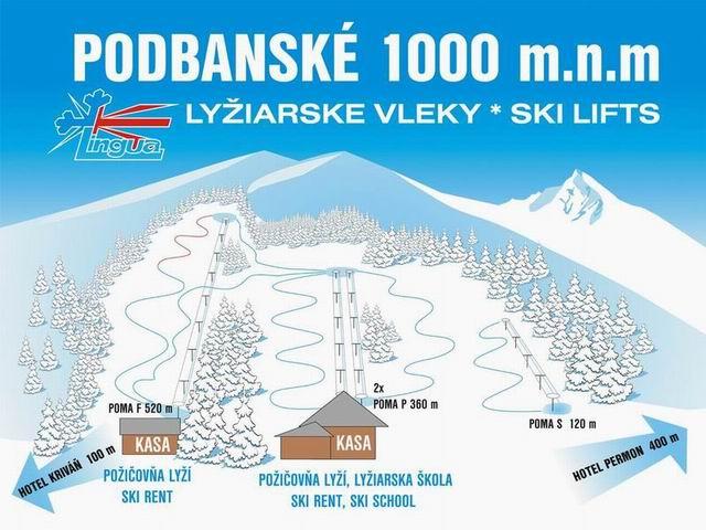Ski Podbanské - mapa