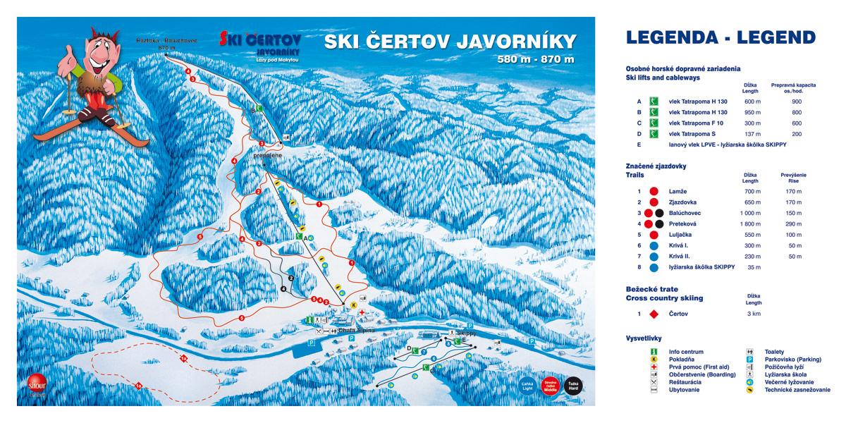Ski Čertov - mapa
