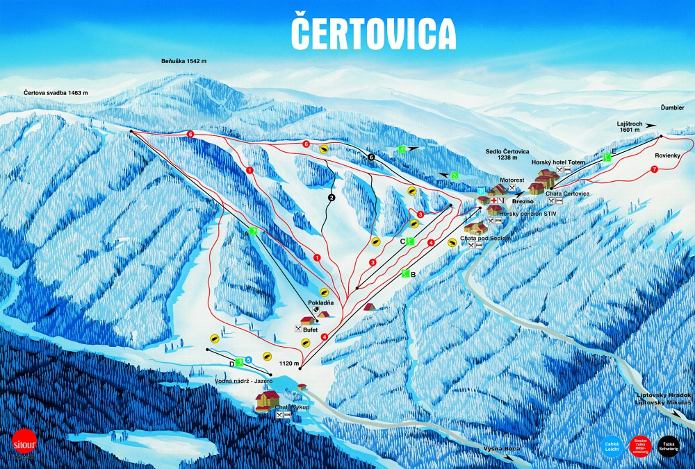 Ski Čertovica - mapa